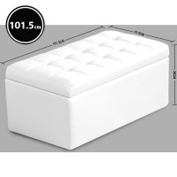 Small PU Leather Storage Ottoman Seat in White 80cm