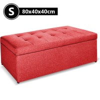 Faux Linen Fabric Storage Ottoman in Red 80cm