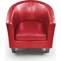 PU Leather Fabric & Solid Wood Tub Armchair in Red