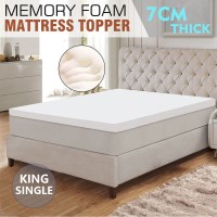King Size Memory Foam Mattress Topper in White 7cm