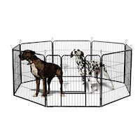 Portable Pet Playpen w 8 Steel Panels in Black 32in