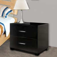 MDF High Gloss Bedside Table w/ 2 Drawers in Black