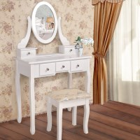 Luxury 5 Drawer Dressing Table w/ Mirror and Stool