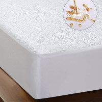 Queen Terry Cotton Luxury Mattress Protector White