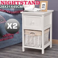2x Shabby Retro Chic Wooden Bedside Tables in White
