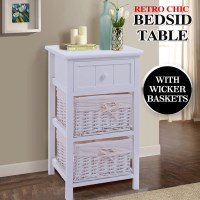 3 Tier Wooden Storage Bedside Table in White