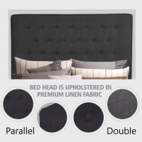 Double Size Fabric Tufted Bed Headboard in Charcoal