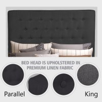 King Size Fabric Tufted Bed Headboard in Charcoal