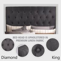 King Size Diamond Tufted Bed Headboard in Charcoal