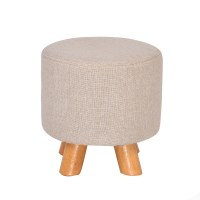 Luxury Round Chic Wooden Padded Foot Stool in Beige