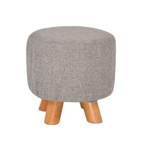 Round Wooden Padded Luxurious Foot Stool Dark Grey