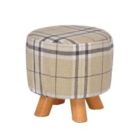 Luxury Round Chic Wooden Padded Foot Stool in Grid