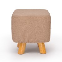 Luxury Square Chic Wooden Padded Foot Stool - Beige