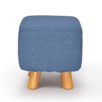 Square Wooden Linen Padded Foot Stool in Blue 30cm