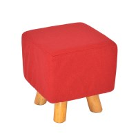 Luxury Square Chic Wooden Padded Foot Stool in Red