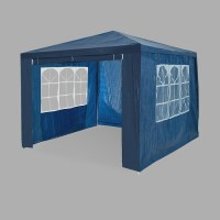 Portable Outdoor Gazebo with 2 Windows in Blue 3x4m