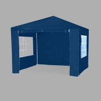 Portable Outdoor Gazebo with 2 Windows in Blue 3x3m
