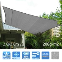 Heavy Duty Sail Shade in Charcoal 3.6x3.6m 280GSM