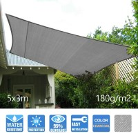 Heavy Duty Sail Shade in Charcoal 5x3m 180GSM
