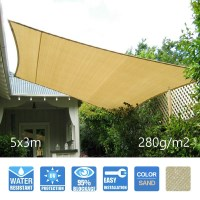 Extra Heavy Duty Sail Shade in Sand 5x3m 280GSM