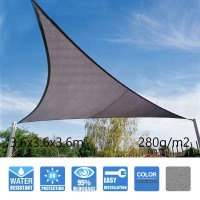 Triangle Sail Shade - Charcoal 3.6x3.6x3.6m 280GSM