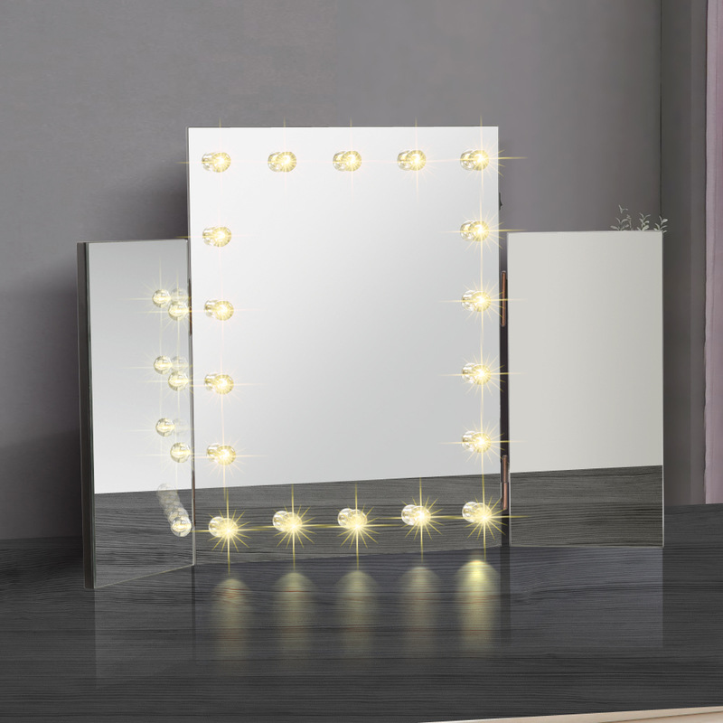 3 Fold Dressing Table Makeup Mirror W 18 Led Lights