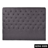 French Provincial King Fabric Headboard in Charcoal