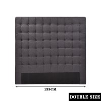 Double Seamed Grid Fabric Tufted Headboard Charcoal