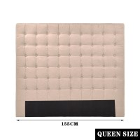 Queen Seamed Grid Fabric Tufted Headboard in Beige