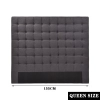 Grid Seamed Tufted Fabric Queen Headboard Charcoal