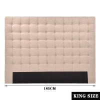 King Seamed Grid Fabric Tufted Headboard in Beige