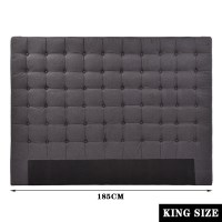 King Seamed Grid Fabric Tufted Headboard Charcoal