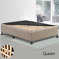 Queen MDF Wood & Fabric Slatted Bed Base in Beige