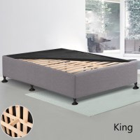 King MDF Wood & Fabric Slatted Bed Base Charcoal