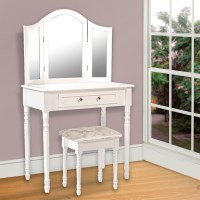 3 Mirror Dressing Table w/ Drawer & Stool in White