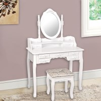 7 Drawer Dressing Table w/ Mirror & Stool - White