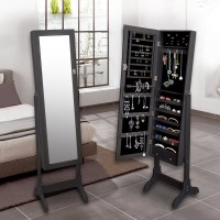 Mirror Jewellery Cabinet w/ Shelves & Drawers Black