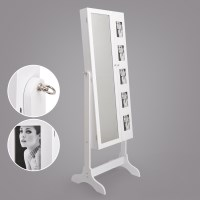 Standing 2 Door Mirror Jewellery Cabinet in White
