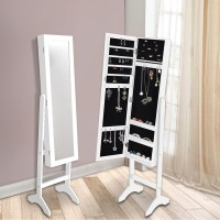 Standing Mirror Jewellery Cabinet in White 153cm