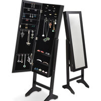 Standing Mirror Jewellery Cabinet in Black 153cm