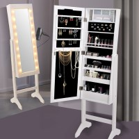 Standing Mirror Jewellery Cabinet w/ 18 LEDs White