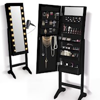 Standing Mirror Jewellery Cabinet w/ 18 LEDs Black