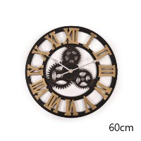 Handmade Vintage 3D Roman Wall Clock in Gold 60cm