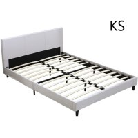 Pu leather studded bed frame in 4 sizes white buy king for Studded bed frame
