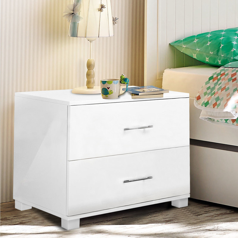 Bedside table cabinet with 2 drawers in gloss white buy for Buy white bedside table