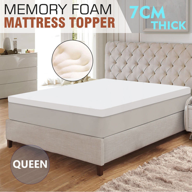 Queen Size Memory Foam Mattress Topper in White 7cm