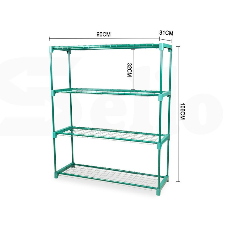 2x Garden Greenhouse Plant Storage Shelving Frame Stand 4 Tier Shelf ...