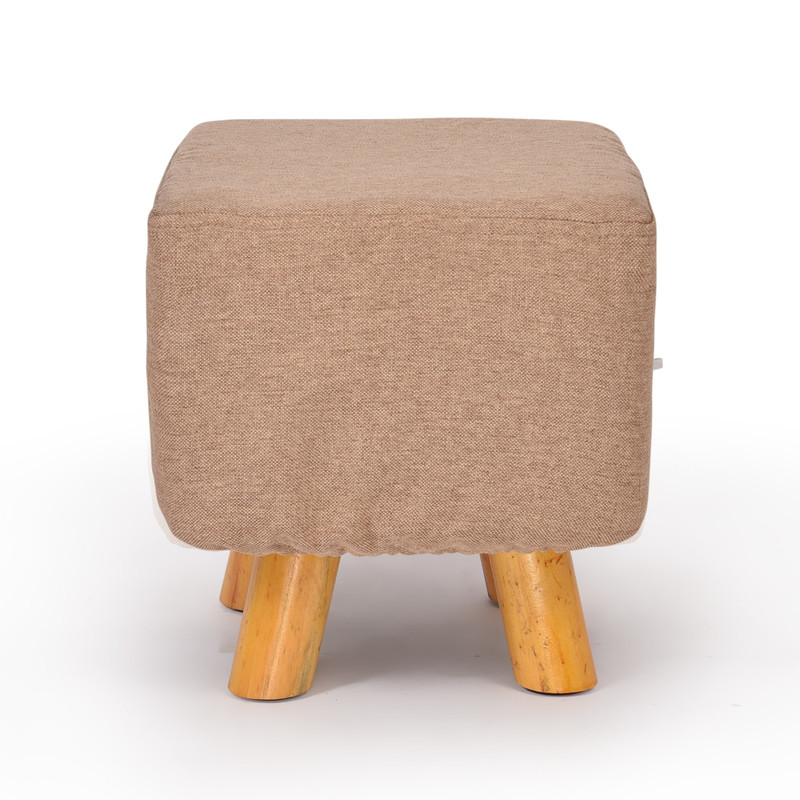 Luxury Square Chic Wooden Padded Foot Stool Beige Buy