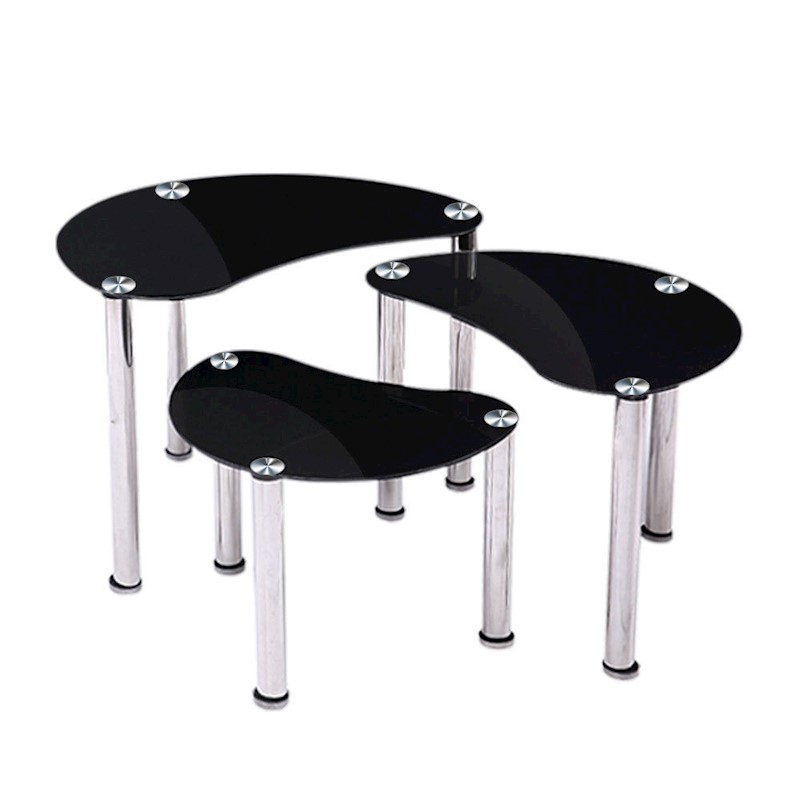 New Black Glass Oval Nest Of 3 Coffee Tables Side End