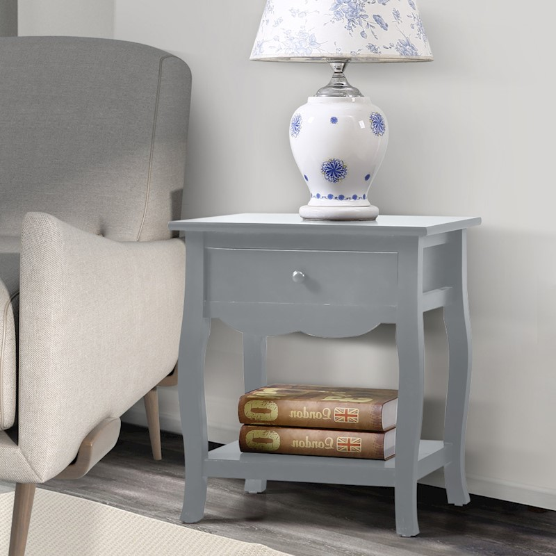 Bedside Table Vintage Style Storage Nightstand High Gloss Chest Drawer  Furniture